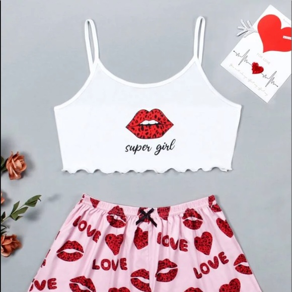 Super girl Leopard print lip PJ SET